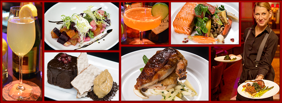 Collage featuring several cocktails, entrées, and a dessert. One image is of a server carrying meals to patrons.